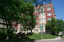 The historic Blackstone Lee Apartments at West End Park front onto a great open space along the West End corridor at Acklen Park Drive.