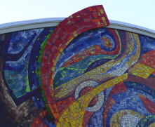 Migration mosaic mural at Casa Azafran