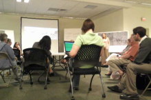 A shot from one of the technical meetings of the charrette at the design studio.