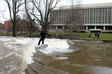 "Picture of water fun on the Grand River after the flood.  Matuli Team Rider Remi at Michigan State University.  http://matulipaddles<wbr/><span class=""wbr""></span>urf.com"