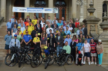 8th Annual Lucinda Means Bicycle Advocacy Day. 100+ bicyclists  braved the storm to storm the Capitol. — at Michigan State Capitol Building.