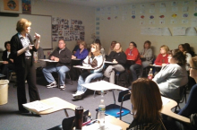 Staff enjoying a presentation by ESU #3 staff developer, Janet Foss, on March 14, 2013 - Hourly Staff Development Day.