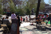 A beautiful day at the Parklet in front of the Pop-Up Studio on the Green. Come on out. Give us your ideas, solutions, responses...