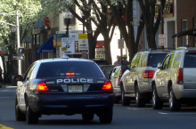 This photo shows a Morristown Police car on South Street.