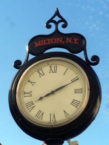This photo shows the clock on Main Street in Milton, Ulster County.