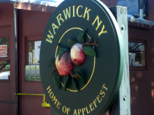 This photo shows the Warwick Applefest sign on South Street.