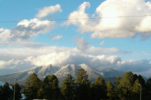 View of the San Francisco Peaks and NAU Sky Dome from south campus-  October 2011