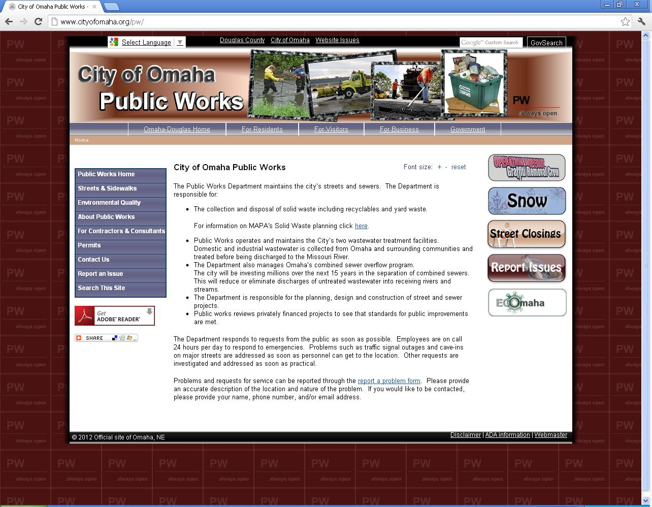 Accessing Public Works Website