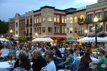 Mixed use development in a town square format that promotes civic gatherings and a sense of place.
