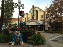 This is a picture I took in our wonderful Old Town featuring a bear in the foreground from the Monrovia 125th anniversary art project.