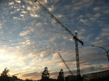 Crane at sunset, downtown RWC, taken from Downtown Library parking lot by Lorianna Kastrop