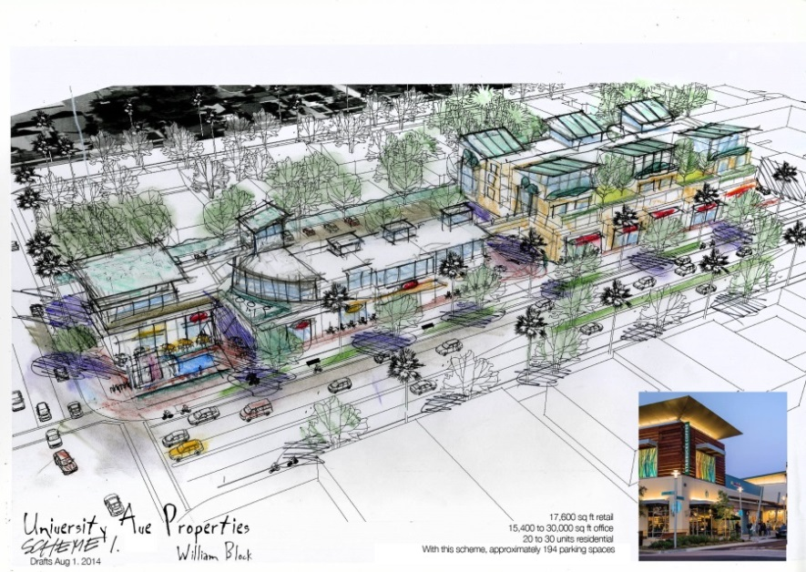 Mixed-use development with residential/office/retail spaces planned for northwest corner of University and Park avenues