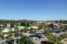 View from top of Redwood City Govt Center parking garage, after wellness walk up four flights of stairs.